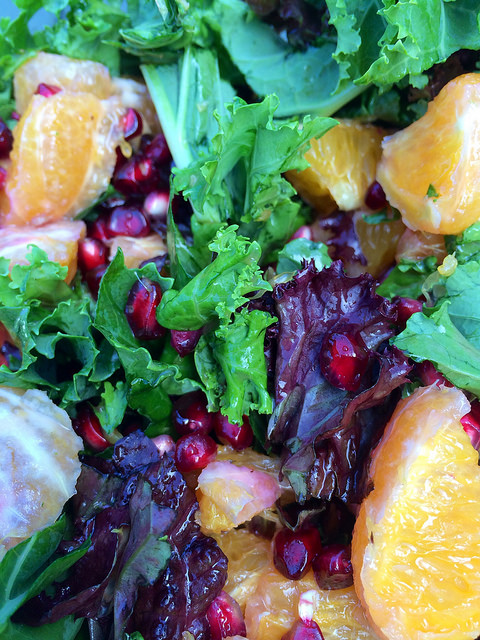 orange, pomegranate and kale salad